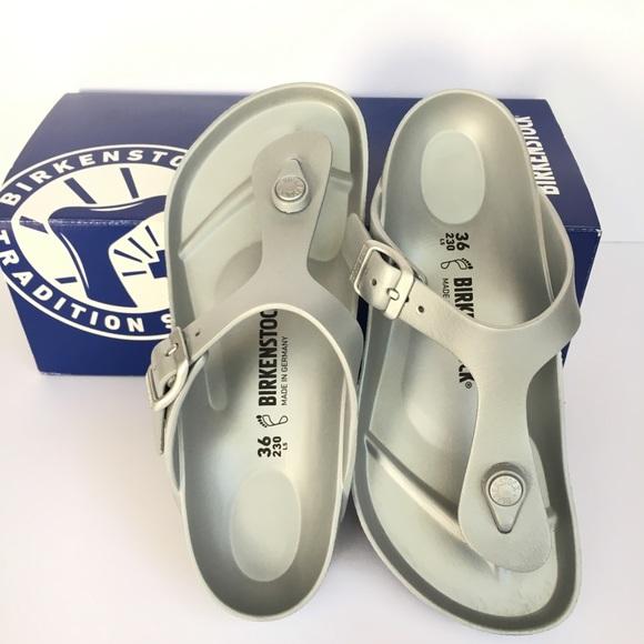 dcb87e71989a NWT Birkenstock Gizeh EVA silver thong sandal 36 6